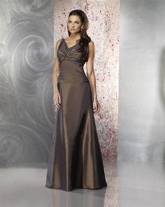 2015 V-neck Satin Sleeveless Floor Length Mother of the Bride Dresses MBD0004