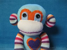 Sock Monkey :  Handmade Plush Doll Toy - Blue with Striped Limbs