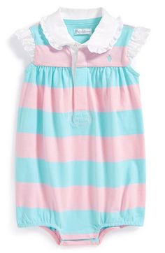 Ralph Lauren Rugby Stripe Bubble Romper (Baby Girls) available at #Nordstrom
