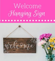 Hanging Welcome Sign #Welcome #HomeDecor #WallArt #Ad #Farmhouse #Cottage #Rustic #FixerUpper #HomeDecor #FixerUpper #Ad