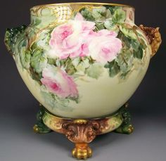 Truly Magnificent Antique Limoges France ELEPHANT HEADS JARDINIERE w Matching Base ~ Breathtaking Hand Painted Roses ~ Victorian Masterpiece...