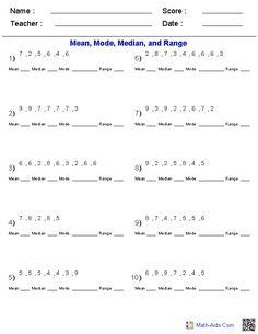 data analysis worksheets mean median mode range 2 | middle school ...