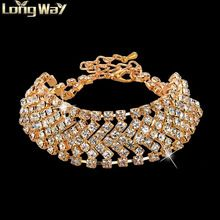 Nomiantion Crystal Armbanden & Bangles Famous Brand Gold Armband Femme Voor Vrouwen Bruiloft Turkse Sieraden Casual Pulseras Mujer(China (Mainland))