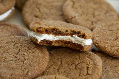 A Ginger Sandwich Cookie is light and fluffy marshmallow buttercream sandwiched between two soft and chewy ginger cookies. Chewy Ginger Cookies, Sugar Cookies Recipe, Best Christmas Cookie Recipe, Christmas Baking, Christmas Treats, Bakers Sweets, Just Desserts, Dessert Recipes, Delicious Desserts