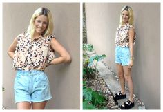 ♥ LOOK OF THE DAY 04-12-2012 ♥  ♥ Camisa Print  ♥ Studded Denim Short  ♥ Mech Sandals