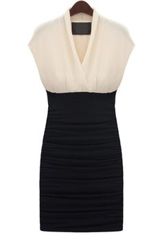 White Black Sleeveless Pleated Bodycon Dress