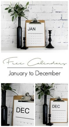 Download free monthly wall calendars for 2018! These modern printables will help organize your office, family and life. Love the minimalist style! #nordic #modern #calendar #organization