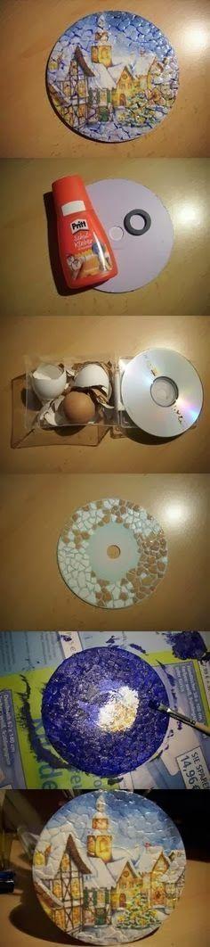 * Decoração e Invenção *: Reciclando Cd´s com Decoupagem e craquelê com casca da ovos