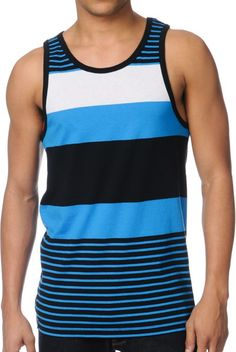 The Latitude tank top from Empyre is a blue, black and white all-over stripe bro tank with a standard guys fit. Great to pair with black chino shorts this Empyre Latitude blue stripe tank top has black banded seams and an eye catching colorway perfect for summer pool parties.