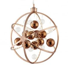 The Muni range of lights are stunning sphere fittings that come in both a chrome and a copper finish. Featuring gorgeous clear and metallic spheres encompassed within outer rings lined with inner LED modules Copper Pendant Lights, Contemporary Pendant Lights, Ceiling Pendant, Pendant Lighting, Ceiling Lights, Dar Lighting, Copper Frame, Copper Glass, Beautiful Lights