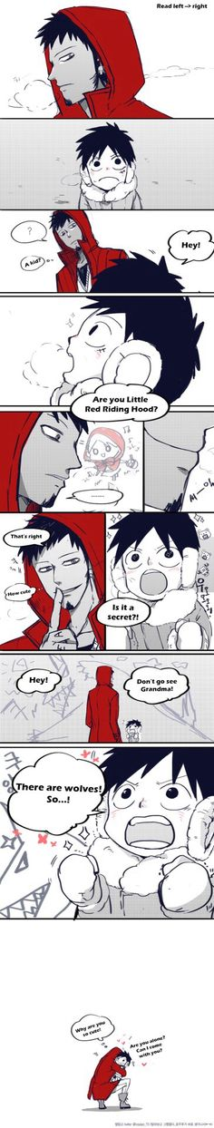 Law and Luffy. No one can resist the cuteness of Luffy