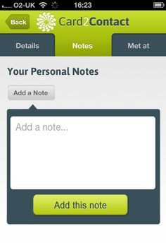 #10 days to go for launch, Add a note-you can add personal notes for each contact right in their profile. #Androidapp #GooglePlay #Android #Card2contact www.card2contact.com/