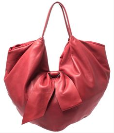 Hobo bags are hot this season! The Valentino 360 Bow Red Leather Hobo Bag is a top 10 member favorite on Tradesy. Valentino Garavani, Valentino Bags, Leather Wallet, Leather Bag, Tan Shoulder Bag, Pouch Pattern, Red Bags, Chloe Bag, Hobo Bag