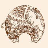 Vektor Henna Mehndi geschmückt indischen Elefanten — Stockvektor