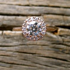 Handmade Halo-Style Round Diamond Engagement Ring in 14K Rose Gold Size 7