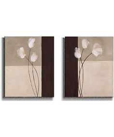 @Overstock - Abstract art selections add chic sophistication to any roomTwo-piece set can be displayed together or separatelyClever use of a monochromatic palettehttp://www.overstock.com/Home-Garden/K.-Parker-Floral-Whispers-2-piece-Stretched-Canvas-Set/2627435/product.html?CID=214117 $146.99