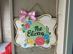 "Perfect for all seasons! Choose your color scheme and wording. Names and short phrases are absolutely perfect for this year round' Door Hanger. Piece is cut to order on 1/4"" plywood then sealed upon completion. Please note color and wording preferences in notes to seller."