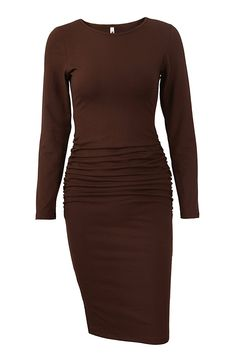 Missufe Women s Ruched Casual Sundress Midi Bodycon Sheath Dress in