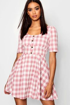 25585f4685f6 Button Front Check Puff Sleeve Skater Dress