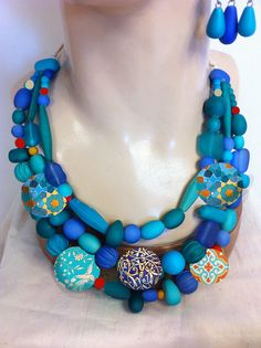 Cleo necklace in Turquoise Blue from Anna Chandler Design, Australia.