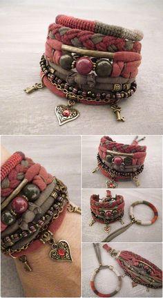 Boho Gypsy Bracelet, Claret Olive Bohemian Bracelet Multiple Strands Shabby Chic Bracelet Hippie Bracelet Heart Boho Bracelet Nomad Jewelry