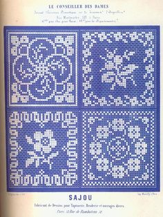 This can be use for Tapestry or filet crochet. Biscornu Cross Stitch, Cross Stitch Needles, Beaded Cross Stitch, Cross Stitch Borders, Cross Stitch Flowers, Cross Stitch Charts, Cross Stitch Designs, Cross Stitching, Cross Stitch Embroidery
