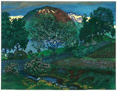 Nikolai Astrup (Norwegian) - Night in June Nocturne, Romanticism Paintings, Painting Gallery, Contemporary Paintings, Impressionism, Landscape Paintings, Illustration Art, Illustrations, Night