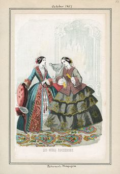 Peterson's- October 1857. Casey Fashion Plates Detail | Los Angeles Public Library