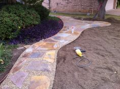GroundScape, a Fort Worth Landscape Company, installs a natural pathway with slabs and crushed granite. Hydrangea Landscaping, Backyard Landscaping, Crushed Granite, Flower Bed Edging, Drainage Solutions, Landscape Services, Landscaping Company, Outdoor Living Areas, Garden Paths