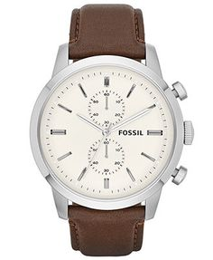 For Him: Classy and elegant. Fossil Watch, Men's Chronograph Townsman Brown Leather Strap 48mm FS4865