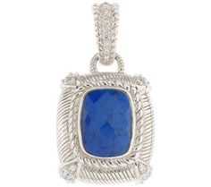 Judith Ripka Sterling Cushion Cut Lapis Enhancer QVC, #GSJ