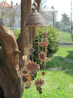 Hand coiled pot wind chime
