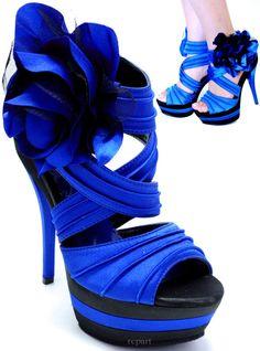 New women's shoes stilettos open toe platform flower royal blue prom wedding | eBay