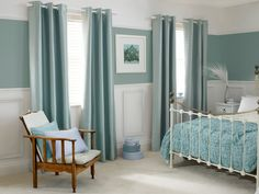 Duck Egg Curtains and Wall