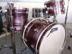 Astro Red Wine finish Drum Kit Vintage Drums, Drum Kits, Drummers, Red Wine, Guitars, Guitar, Drum Sets, Vintage Guitars