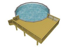 This x deck wraps a quarter way round a wide and high above ground pool. Swimming Pool Decks, Above Ground Swimming Pools, In Ground Pools, Rectangle Above Ground Pool, Small Above Ground Pool, Free Deck Plans, Pool Deck Plans, Doughboy Pool, Above Ground Pool Landscaping