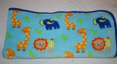 Blue ZOO JUNGLE ANIMALS BABY BOY BLANKET Giraffe Elephant Lion SOFT Fleece Lovey #Unbranded