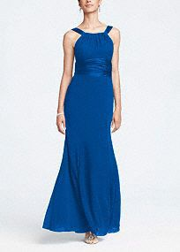 This long chiffon and charmeuse combination dress is a flattering look for all body types.   The high neck is a sophisticated look that pairs nicely with the length of the dress.  Dress this up with bold jewelry.  Fully lined. Back zip. Imported polyester. Dry clean only.  Get inspired by our colors..    To protect your dress, try our Non Woven Garment Bag. *SPECIAL VALUE! Was , Now !