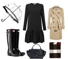 deszczowy kolaż - czarna sukienka z falbaną z długim rękawem sugarfree