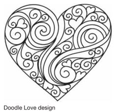 Would make a great pattern fro a quilled heart. I see a great garden stone with… – Quilling and Paper Crafts – mandala Heart Coloring Pages, Adult Coloring Pages, Coloring Books, Egg Coloring, Coloring Pages For Grown Ups, Mandala Coloring, Paper Embroidery, Hand Embroidery Patterns, Embroidery Designs