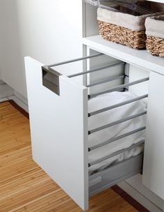 more space effective way to do Clothes Baskets Laundry Storage, Laundry Room Organization, Laundry Hamper, Laundry Room Design, Laundry In Bathroom, Laundry Organizer, Modern Laundry Rooms, Apartment Interior, Bathroom Interior Design