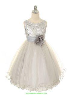 Silver Elegant Stunning Sequined Bodice Flower Girl Dress