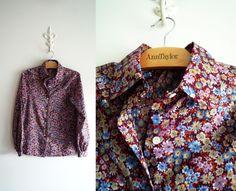VTG Casual Corner Blouse Floral Secretary Top Size Small Medium Button Front #CasualCorner #Blouse #Casual #secretaryBlouse #geek #1970s #womensVintage