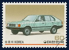 POSTAGE STAMPS FOR KOREAN MADE CARS SERIES(Ⅰ), Car, Car, Turquoise, 1983 02 25, 국산자동차 시리즈(제1집),1983년02월25일, 1286, 승용차(포니 2), postage 우표
