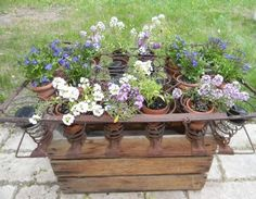 an apple box rusted out mattress springs solar lights cuteness, container gardening, flowers, gardening, repurposing upcycling, Side view during the day
