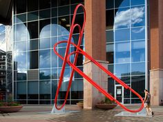 Red Paperclips 2009, by Chris Weed. Powder coated steel. Colorado?
