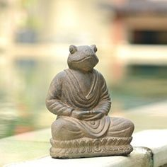 Volcanic Ash Meditating Frog Statue (Indonesia)