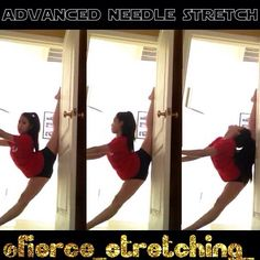 Hey guys! Hope everyone's having a good day!☀️ This is an advanced needle stretch for people who want their needle hyperextended😊 Stand in a doorframe and put your foot all the way to the edge of the door frame, keep your arms locked out in front of you and push your hips all the way to the door keeping your chest up! Lean back and grab your leg if you can.(: hope this was helpful! Don't forget about our contest! Tag friends who might be interested in our page😋 ♡Viv