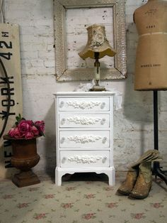 Painted Cottage Chic Shabby Romantic Night by paintedcotttage. Lillys new nightstand!