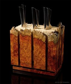Custom Amboyna Burl Knife Block by Where Wood Meets Steel ...